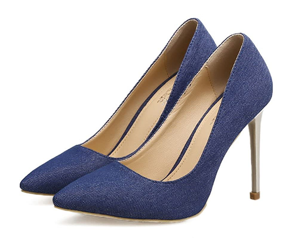 6c7574ee656d7 SHOWHOW Damen Canvas Klassischer Spitz Zehe Low Top High Heels Pumps ...