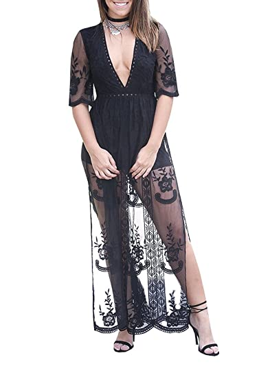 e5dcaecf09c Wicky LS Women s Sexy Short Sleeve Long Dress Low V-Neck Lace Romper Black S