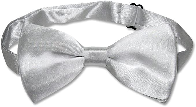 Vesuvio Napoli SELF TIE Bow Tie Solid SILVER GREY Color Mens Gray BowTie