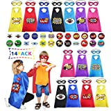 Cartoon Heros Dress Up Costumes Capes with Felt Masks Perfect for Kids Costumes and Birthday Party (14pcs ) with 14 Pcs Big and 24 Pcs Small Stickers