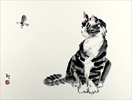 Pity, asian art cat painting words... super