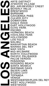 Neighborhoods Los Angeles Hollywood Beverly Hills Bel Air Brentwood Malibu Venice White Word Art Cool Wall Decor Art Print Poster 24x36