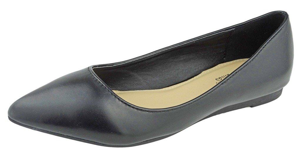 Pierre Dumas Women's Abby-10 Vegan Leather Pointed Toe Slip-On Fashion Dress Flats Shoes B01NADO1LC 6.5 B(M) US|Black