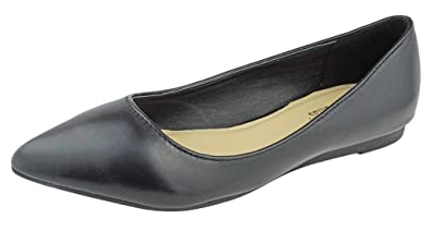 df7df63a8fcc Pierre Dumas Womens Abby-10 Vegan Leather Pointed Toe Slip-On Fashion Dress  Flats