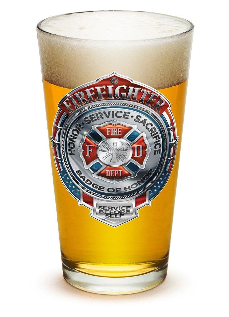16 Oz Firefighter Gifts for Men or Women Fire Honor Service Sacrifice Chrome Badge Beer Glassware Pint Glasses Beer Glasses with Logo Set of 4