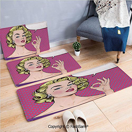 FashSam 3 Piece Flannel Bath Carpet Non Slip Pop Art Blonde Woman Making OK Sign on Dotted Background Retro Comic Book Design Front Door Mats Rugs for Home(W15.7xL23.6 by W19.6xL31.5 by W15.7xL39.4) ()