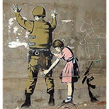 Wall Graffiti Girl Frisking Soldier on vinyl Spray Paint Artwork Hip Hop Gangsta Poster