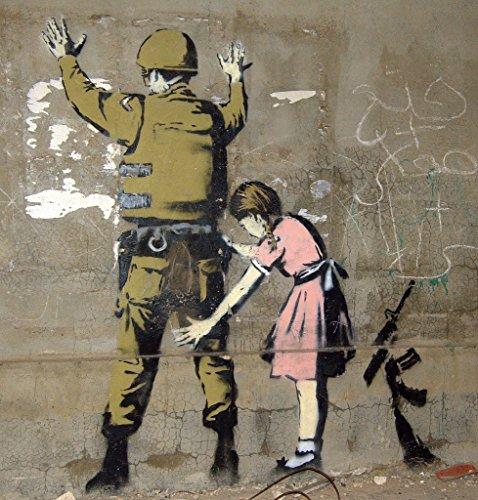 MCARTWORK Design Decals Wall Graffiti Girl Frisking Soldier on Vinyl Spray Paint Artwork Hip Hop Gangsta Poster (Stars Of Love And Hip Hop Atlanta)