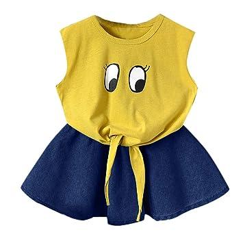Kaiki - Vestido de Verano para niña sin Mangas, Color Amarillo con ...