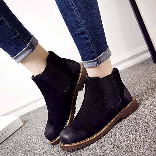 Chelsea Pull Womens Ankle Black Toe Bootie Cool on Fleece Low Heel Short Boot Rounded rqqv8wt