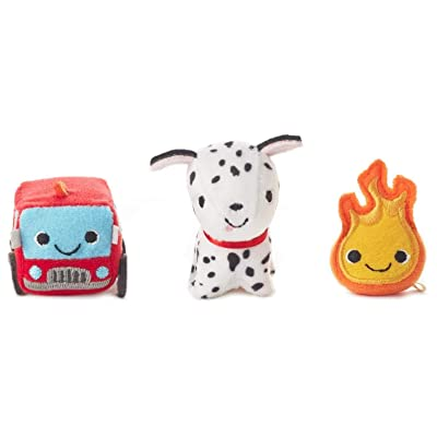 Hallmark Happy Go Luckys Toddler Toys, Small Stuffed Animals, Fire Truck Dog, Set of 3: Toys & Games