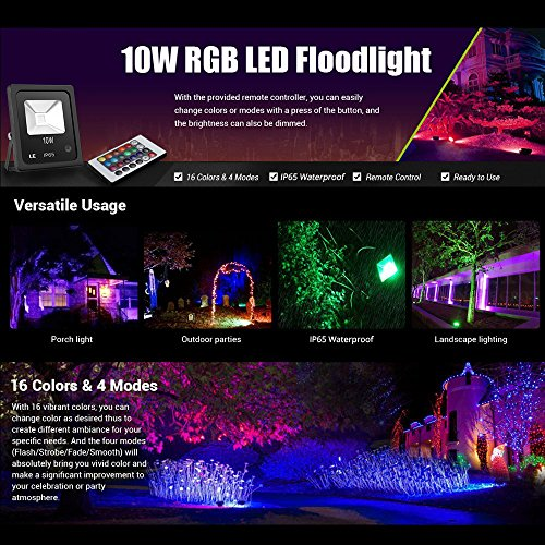Le 10w rgb led flood lights outdoor color changing led security le 10w rgb led flood lights outdoor color changing led security light 16 colors 4 modes with remote control ip66 waterproof led floodlight us 3 plug mozeypictures Image collections