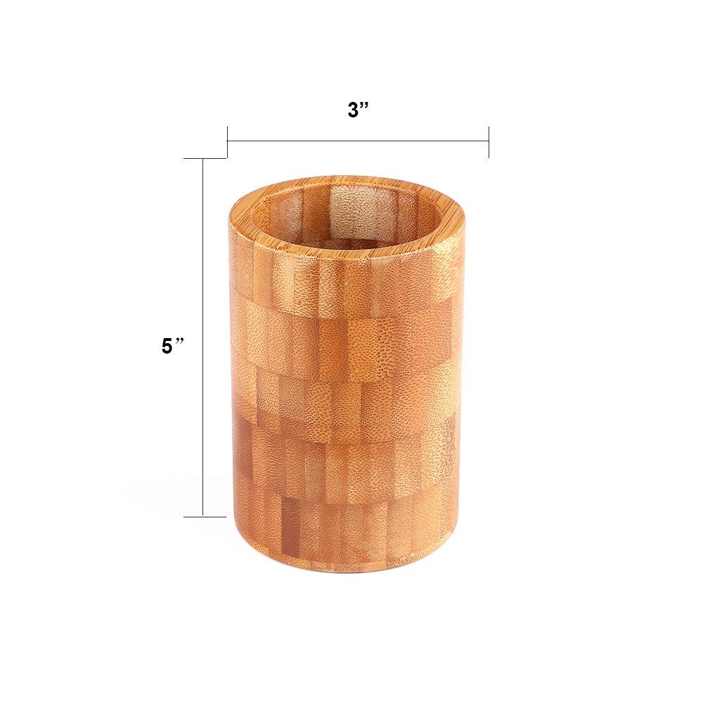 fuiigo Collection de baño, vaso para cepillos de dientes soporte para mueble de baño encimeras Natural bambú limpiar: Amazon.es: Hogar