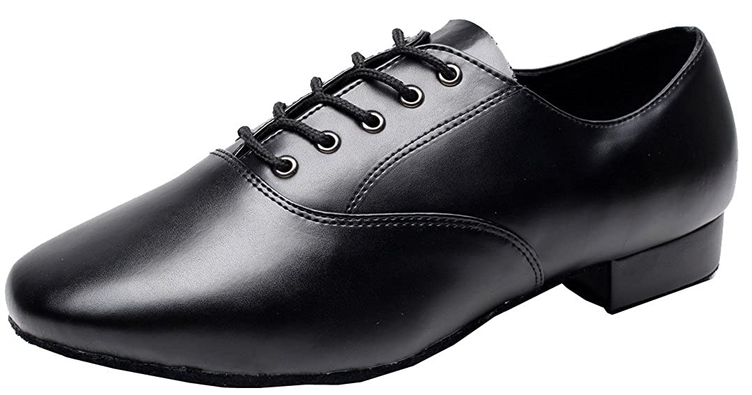 Abby AQ-9013 Mens Modern JazzLace-up Round-toe Leather Dance-shoes