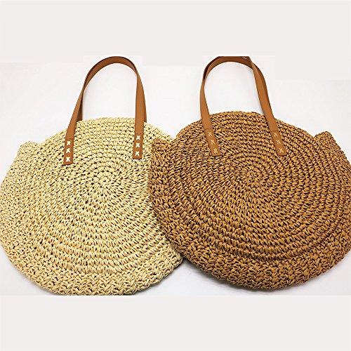 LF-Beach Bag Casual Simple Moda Oblicua De Nuevo Papel Cuerda Tejida Bolsa De Paja Bolsa De Playa Bolsa De Hierba Bolsa Pequeña Mochila,White White