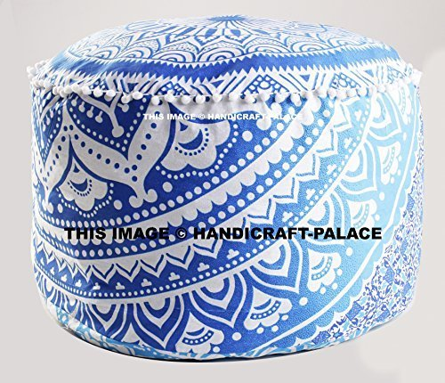 Bohemian Pouf Ottoman pouffe Ombre Mandala Indian Pouf Ottoman Seat Pouffe 24'' By ''Handicraft-Palace''