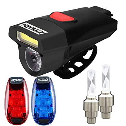 767d74d13c8 USB Rechargeable Bike Light Set, Bicycle Headlight Front Light & Free Rear  Back Tail Light, LED Safety Lights for Bicycle, Waterproof, Easy to Install  for ...