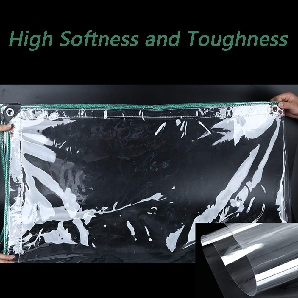 Lona Impermeable Transparente De Grado Industrial para Carpa Camping Balc/ón 500g Size : 1x1.5m ㎡ Lona De PVC para Jard/ín Al Aire Libre con Ojales A Prueba De Herrumbre 0,5 Mm De Espesor