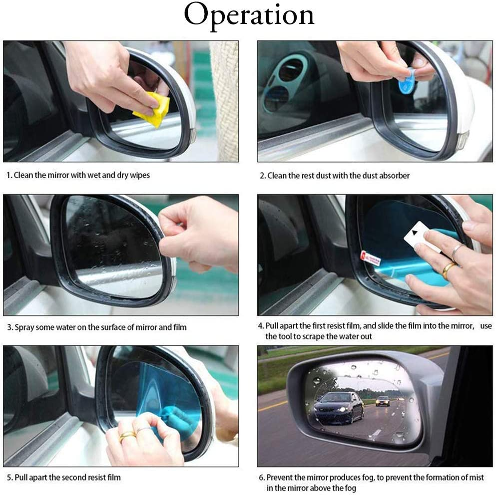 Lizjoy 3c 4 PCS Car Rearview Mirror Waterproof Protective Film Anti Glare Anti Scratch Anti Fog Rainproof Film HD NanoAnti-Scratch Rain-Proof Anti Water Mist Sticker Safe Driving in Harsh Conditions