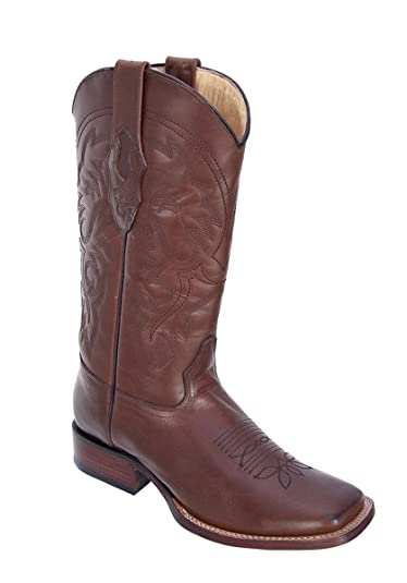 34163c6b96 Genuine Pull UP Leather Brown Wide Square Toe Los Altos Men s Western  Cowboy Boot 8223807 (