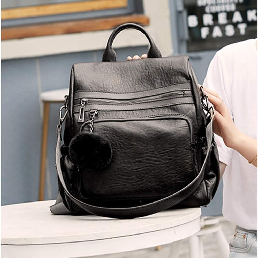 Color : Black, Size : M TongLing Womens Backpack Personalized Wild Hair Ball Large Capacity Travel Bag Lightweight Waterproof Bag Trend