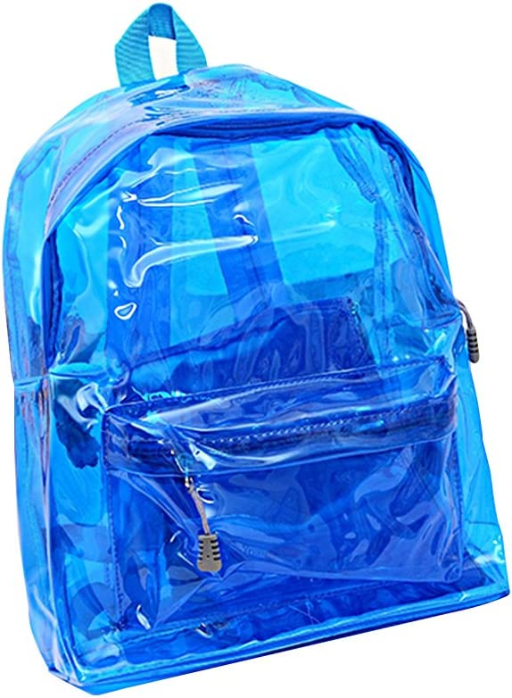 OULII Transparente Mochila Cute School Shoulder Bag Caramelo Color Satchel para los niños (Azul)