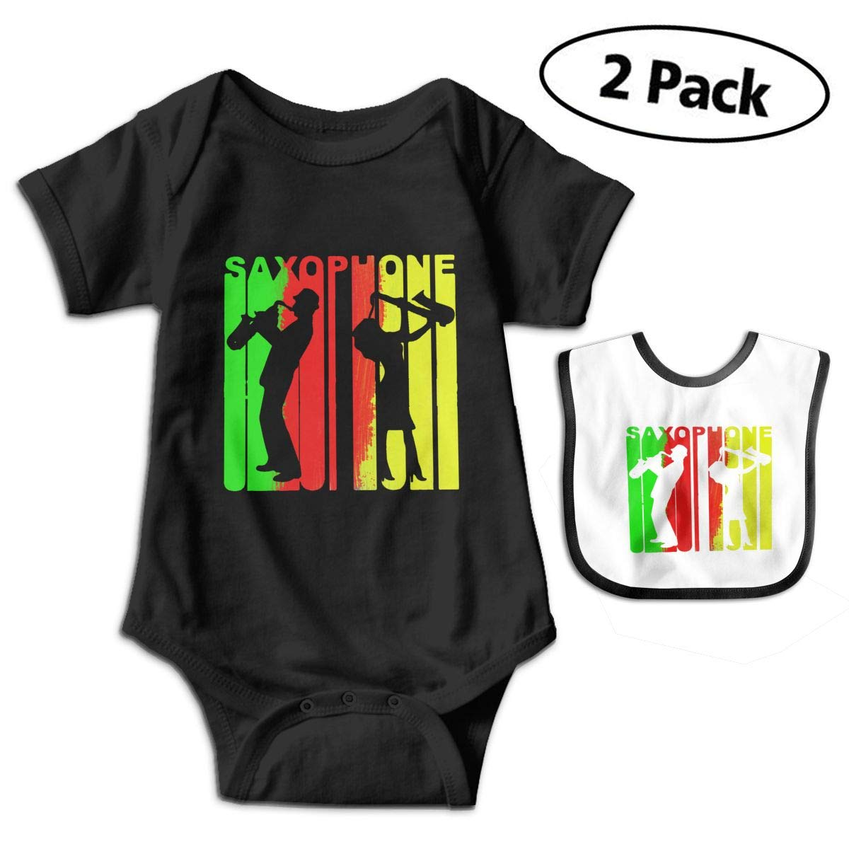 Harataki Retro 1970s Style Saxophone Player Infant Baby Short Sleeve Romper Jumpsuit Bodysuit