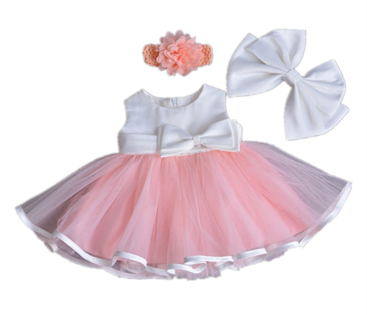 HX Baby Girls Princess Pink Sleeveless Gauze Wedding Birthday Party Dresses with Headband (Pink, 18M/12-18 Months)