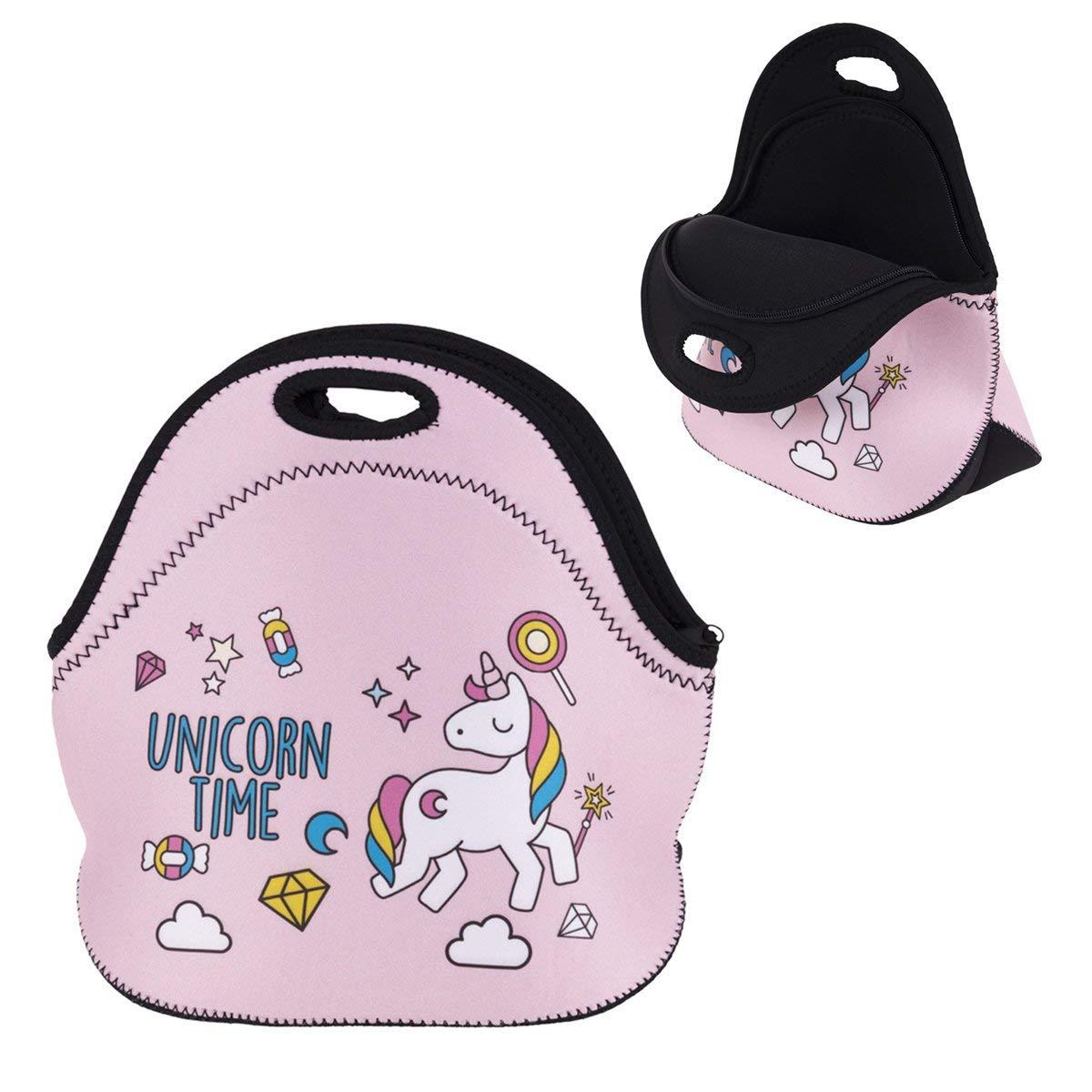 IPRee Neoprene Girl Unicorn Tote Insulated Lunch Cooler Travel Picnic Handbag Pouch