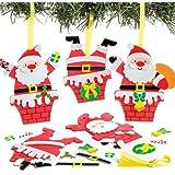 Kit Decorativi con Babbo Natale nel Camino, Perfetti per Creazioni Fai da Te, Decorazioni e Lavoretti Artistici Natalizi di Bambini e Bambine (Confezione da 6)