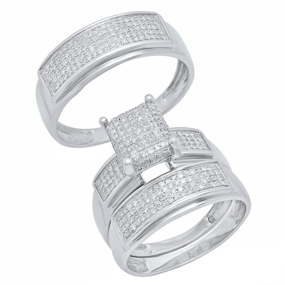 0.65 Carat (ctw) Sterling Silver Round Diamond Men's & Women's Micro Pave Engagement Ring Trio Set