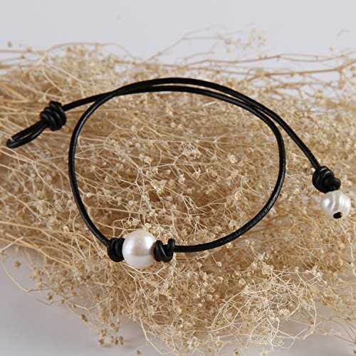 77fa10847a347 Barch Young Single Pearl Choker Necklace on Genuine Leather Cord for ...