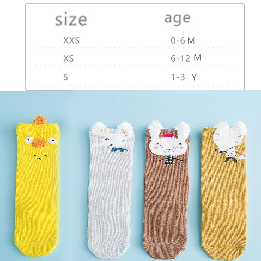 Toddler Socks Cartoon Animal Non Skid Cotton Socks Baby Stockings Yellow Chicken Pattern Mid Tube Socks for 1-3 Years Old Toddler Boys Girls Small Size 3 Pairs