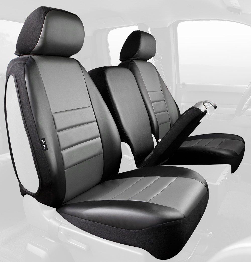 Fia SL68-23 GRAY Custom Fit Front Seat Cover Split Seat 40//20//40 Leatherette Black w//Gray Center Panel
