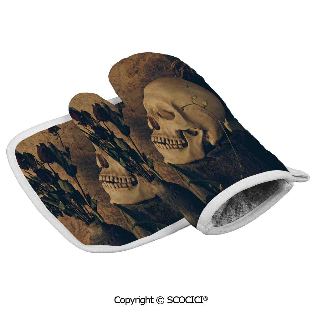 SCOCICI Oven Mitts,Professional Heat Resistant Human Skull with Dead Dried Roses in The Vase Grunge Style Bourgeois Life Non-Slip Kitchen Oven Glove for Cooking,Baking,Barbecue Potholders