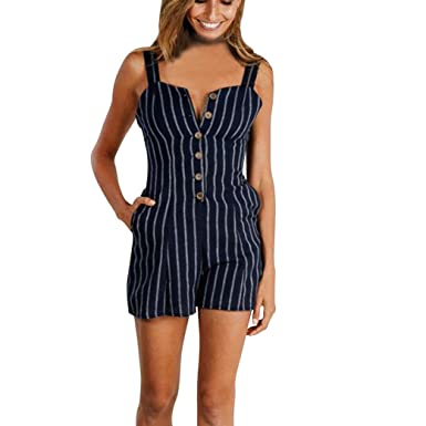 7564629a412a Longay Women V Neck Spaghetti Straps Buttons Striped Romper Jumpsuit Mini  Short Dress (S)