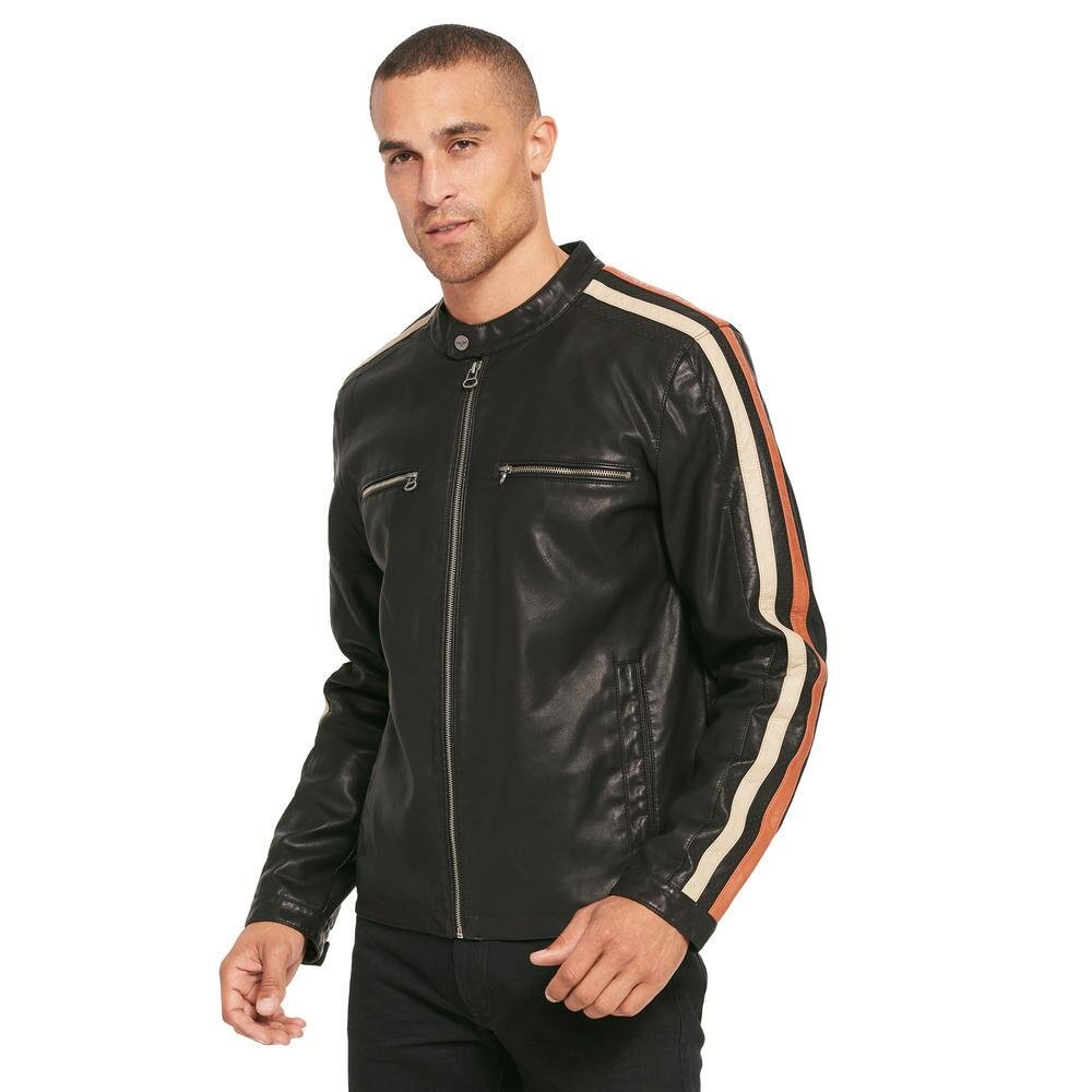 Wilsons Leather Mens Motorcycle Faux-Leather Jacket W/Stripe PSF3AU025