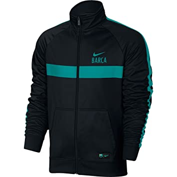 Nike M NSW Jkt PK Cre - Chaqueta línea F.C. Barcelona para Hombre, Color Negro