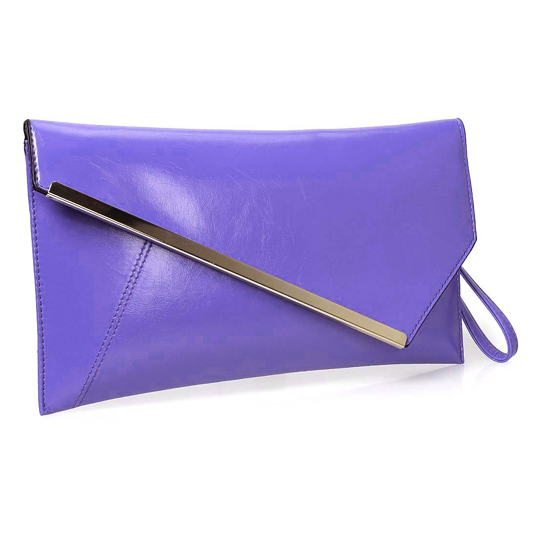 BMC Fashionably Chic Cool Purple Faux Leather Gold Metal Accent Envelope Style Statement Clutch