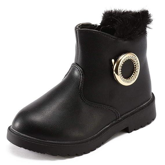 YanHoo Zapatos para niños Invierno de Color sólido Infantil de Metal de Diamantes de imitación de