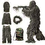MOPHOTO 5 in 1 Ghillie Suit, 3D Camouflage Hunting Apparel Including Jacket, Pants, Hood, Rifle Wrap, Carry Bag Suitable for Unisex Adults/Kids/Youth (XL/XXL)
