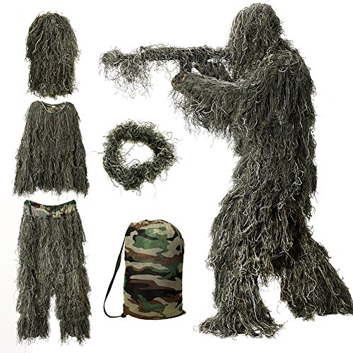 (MOPHOTO 5 in 1 Ghillie Suit, 3D Camouflage Hunting Apparel Including Jacket, Pants, Hood, Rifle Wrap, Carry Bag Suitable for Unisex Adults/Kids/Youth (XL/XXL))