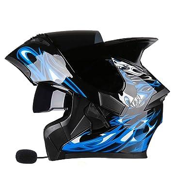 WEGCJU Engranaje De Seguridad Modular Bluetooth del Casco De La Motocicleta,Black-XXXL