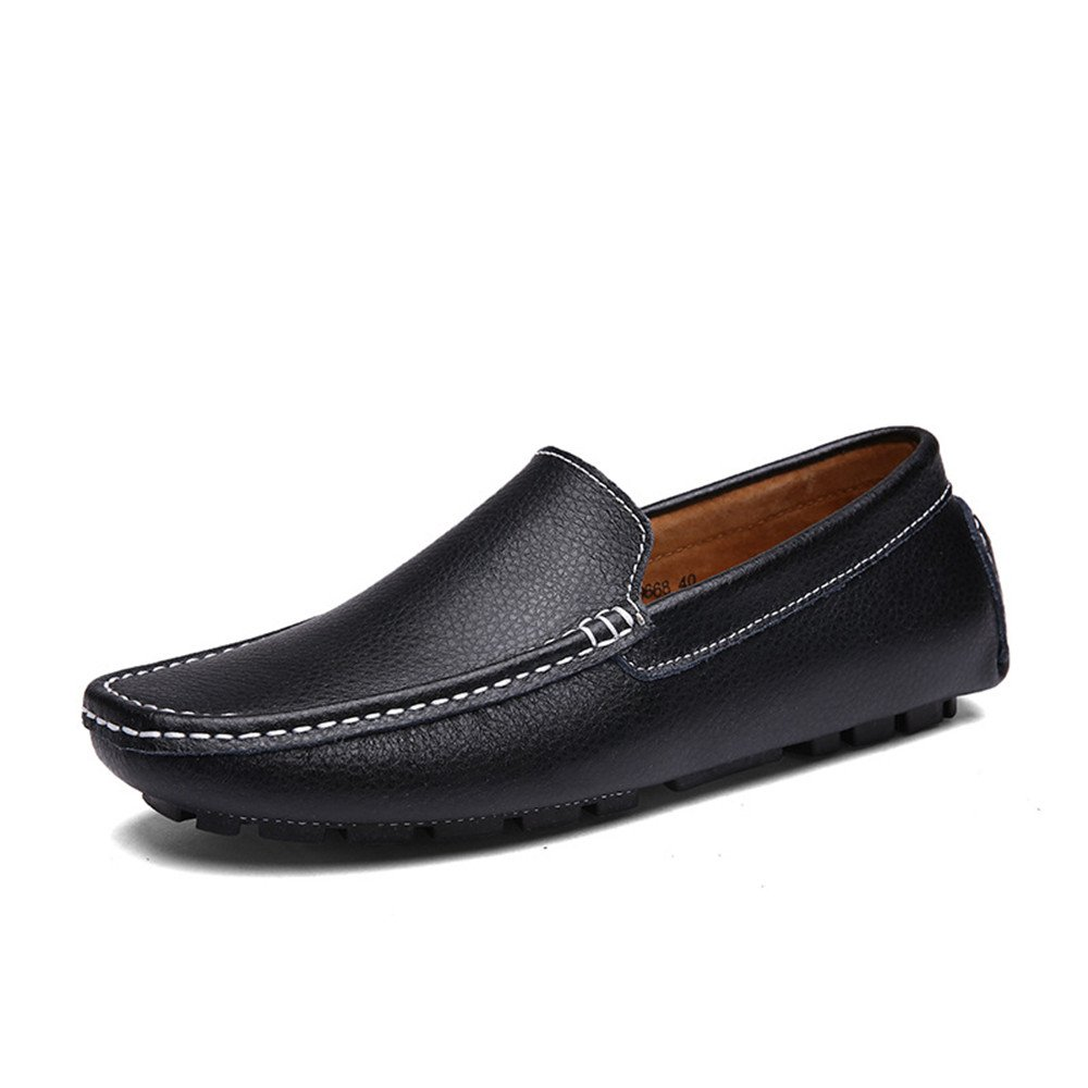 Black FeiNianJSh Men's Stylish Driving Penny Loafers Casual shoes Bare Vamp Leisure Boat Moccasins Soft Rubber Sole shoes
