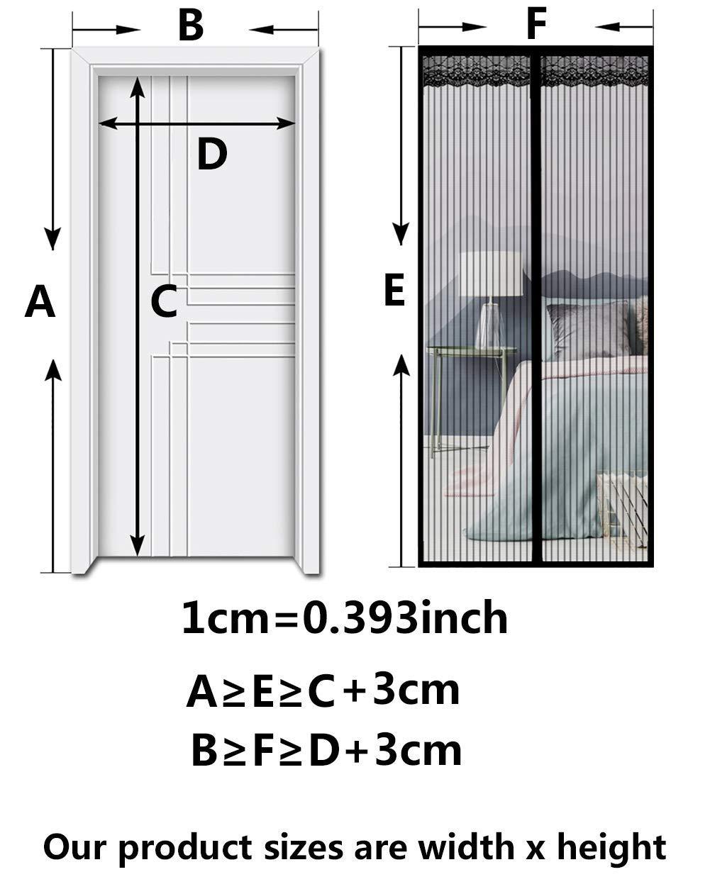 28x63inch Moustiquaire Porte Magn/étique Maille Ultra Fine Aimants Ultra Seal Fermeture Automatique,Black,70x160cm AKEFG Rideau Anti-Insectes /à Fixation Aimant/ée