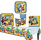 Mickey And The Roadster Racers Mickey Mouse Birthday Party Supplies Pack for 8 Guests - Lunch Plates, Dessert Plates, Lunch Napkins, Cups, and a Table Cover