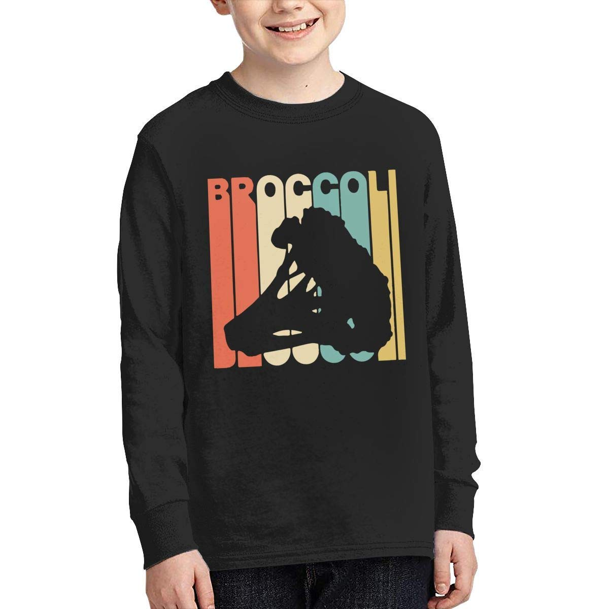 Boys Casual Long Sleeve Crew Neck Cotton Vintage Style Broccoli Silhouette Tee for Youth