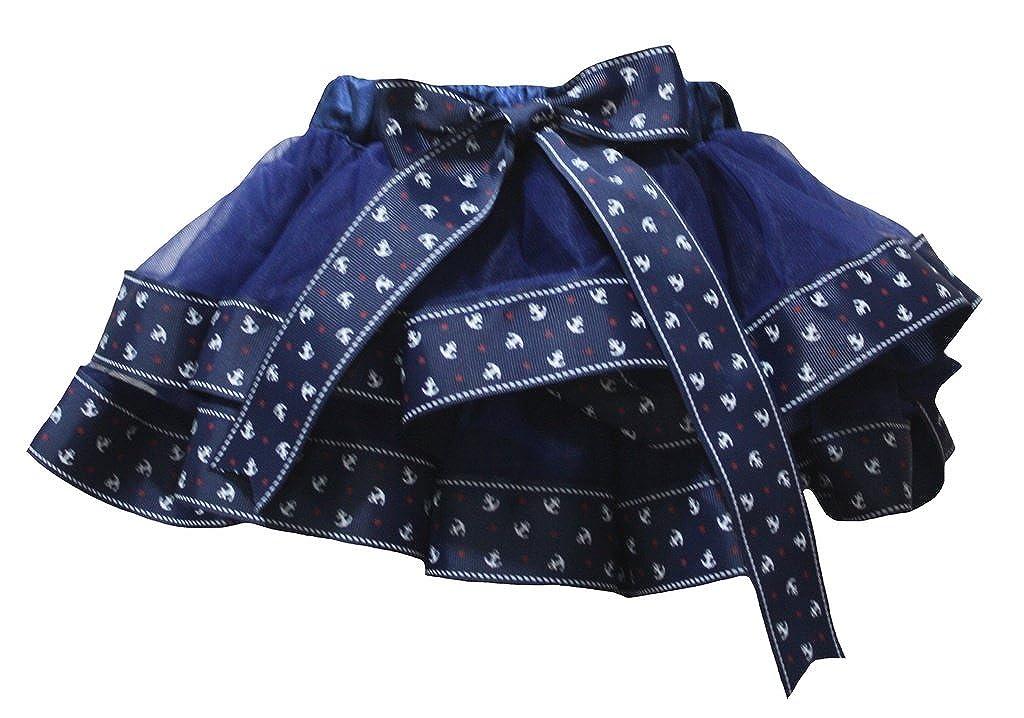 Petitebella Dress Navy Blue 4 Layer Sailor Anchor Ribbon Girl Petal Skirt Nb-8y