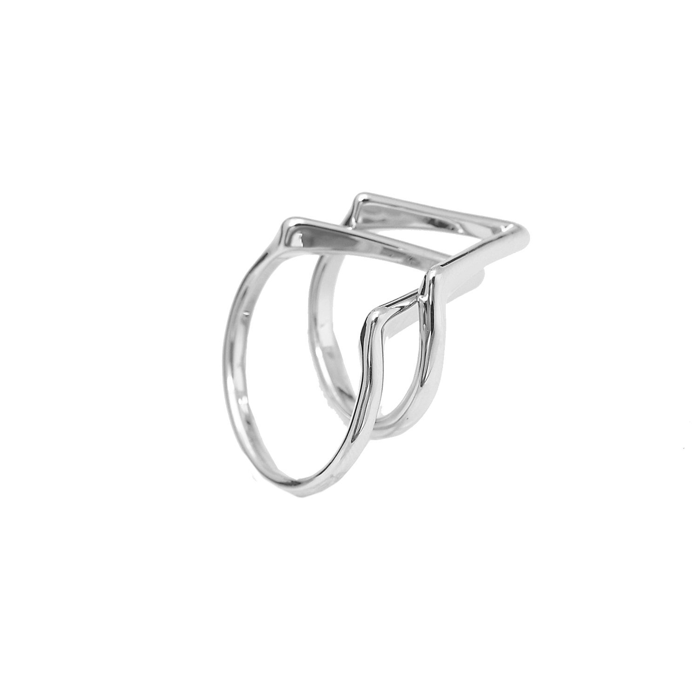Perfect Chevron V Shape Ring and Midi Fashion Ring Set