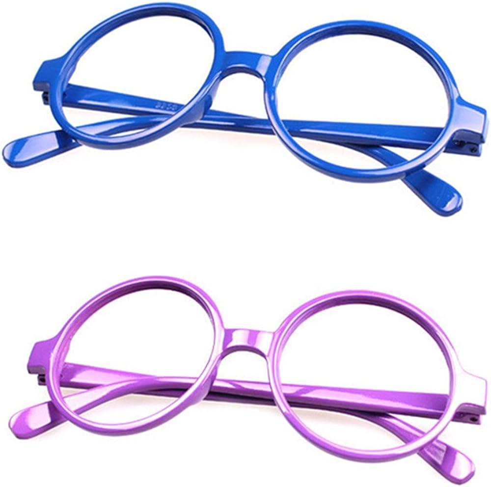 FancyG Retro Classic Geek Nerd Style Big Round Shape Costume Glasses Frames NO LENSES 7 Pieces Color Set59